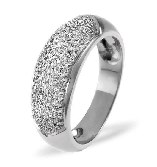18K WHITE GOLD DIAMOND PAVE RING 0.64CT H/SI