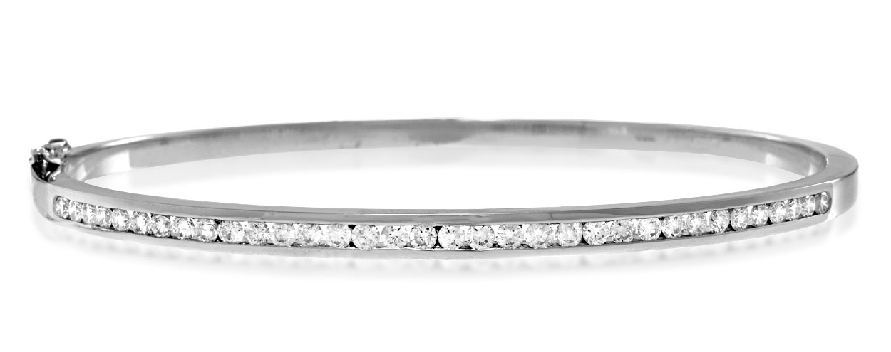 18K WHITE GOLD DIAMOND BANGLE 1.00CT H/SI