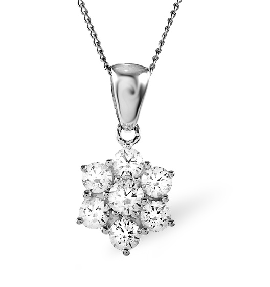 18K WHITE GOLD DIAMOND CLUSTER PENDANT 0.25CT H/SI