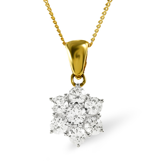 18K GOLD DIAMOND CLUSTER PENDANT 0.25CT H/SI