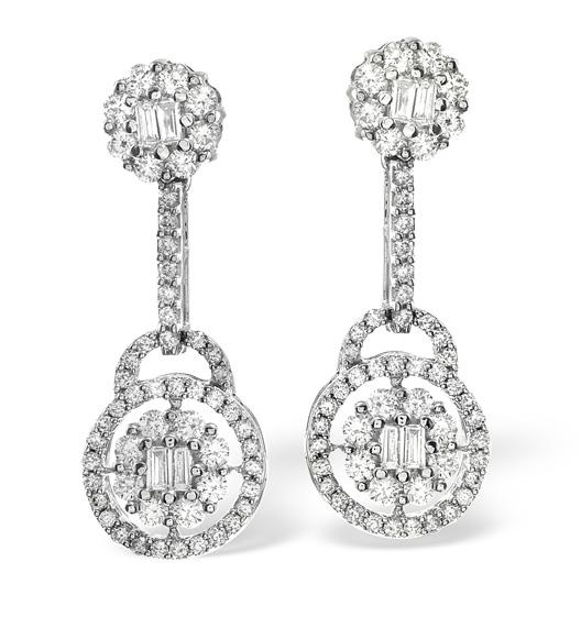 18K WHITE GOLD DIAMOND EARRING 1.26CT H/SI