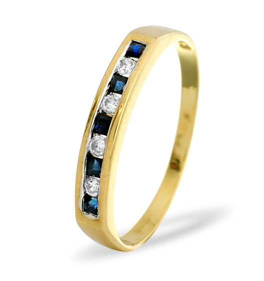 SAPPHIRE AND 0.09CT DIAMOND RING 9K YELLOW GOLD