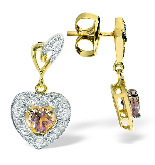 AMETHYST 0.44CT AND DIAMOND 9K YELLOW GOLD EARRINGS