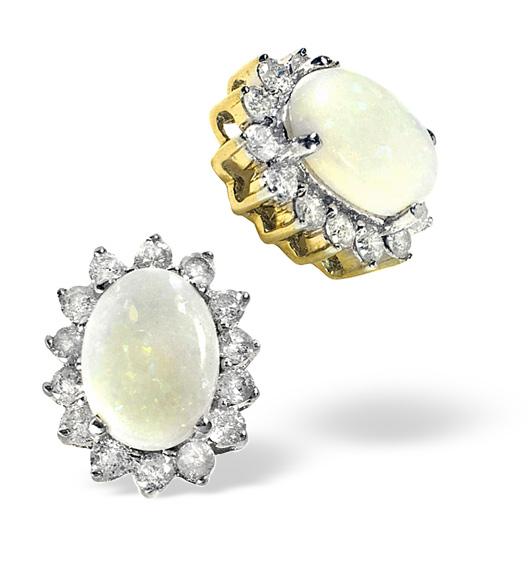 OPAL 7 X 5 MM AND DIAMOND 9K YELLOW GOLD EARRINGS