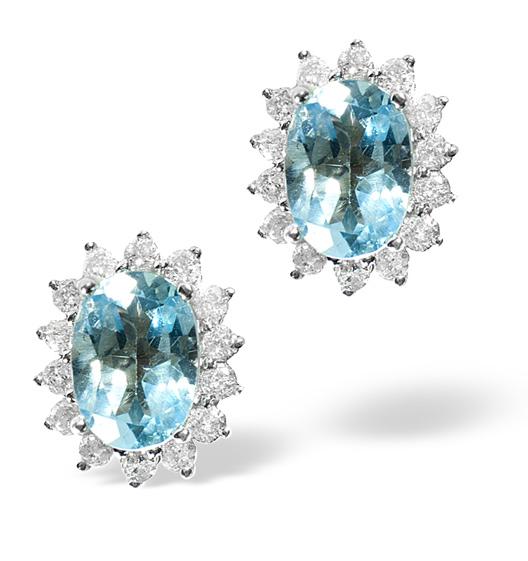 BLUE TOPAZ 7 X 5MM AND DIAMOND 9K GOLD EARRINGS