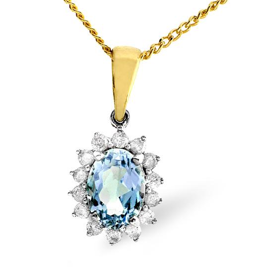 BLUE TOPAZ 7 X 5MM AND DIAMOND 9K GOLD PENDANT