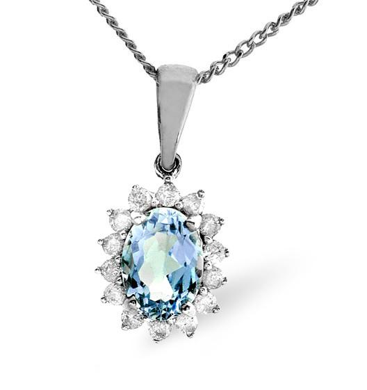 BLUE TOPAZ 7 X 5MM AND DIAMOND 9K WHITE GOLD PENDANT