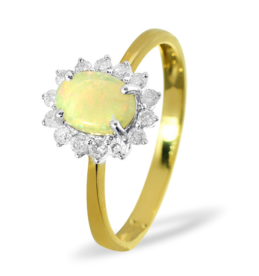 OPAL 7 X 5MM AND DIAMOND 9K YELLOW GOLD RING