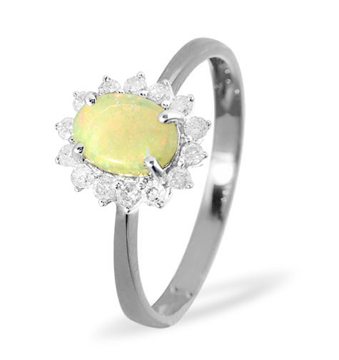 OPAL 7 X 5MM AND DIAMOND 9K WHITE GOLD RING