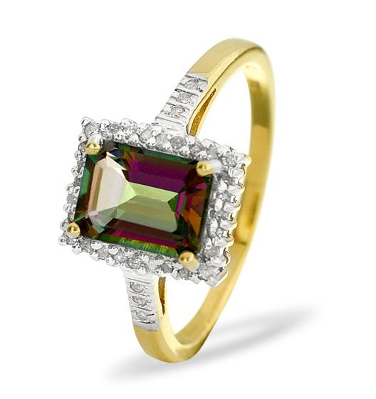 MYSTIC TOPAZ 2.00CT AND DIAMOND 9K YELLOW GOLD RING