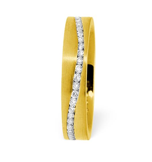 LUCY SWIRL 18K GOLD DIAMOND WEDDING RING 0.55CT H/SI