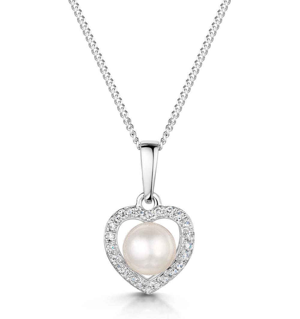Stellato Collection Pearl and Diamond Pendant 0.06ct in 9K White Gold