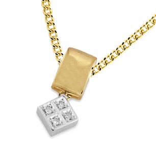 9K WHITE GOLD DIAMOND PENDANT (0.06CT)
