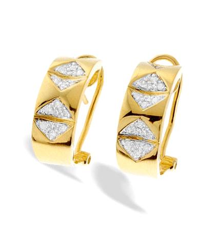 9K GOLD TRIANGLE DESIGN DIAMOND EARRINGS(0.21CT)