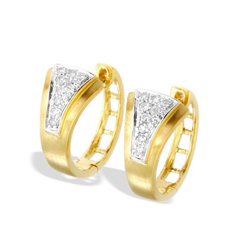9K GOLD DIAMOND HUGGY EARRINGS(0.18CT)