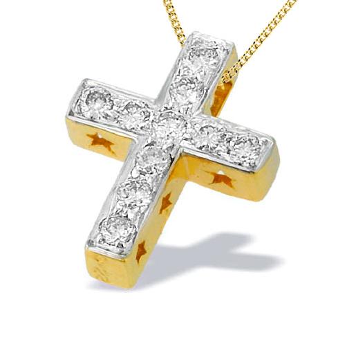 9K GOLD DIAMOND CROSS PENDANT WITH START DETAIL(0.22CT)