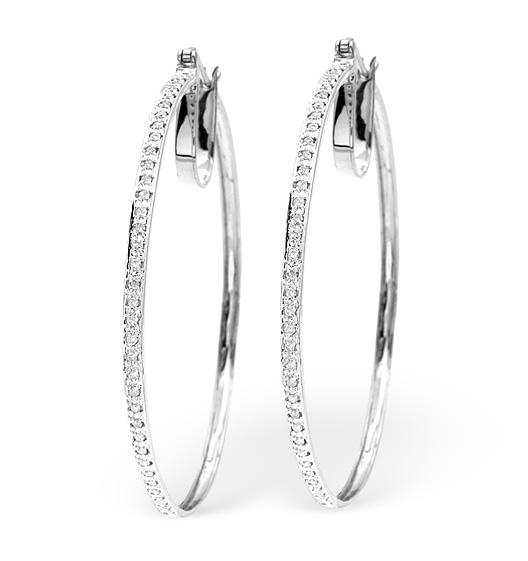 HOOP EARRINGS 0.40CT DIAMOND 9K WHITE GOLD W2 X L48MM