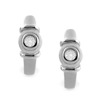 DIAMOND 0.12CT  AND 9K WHITE GOLD EARRINGS - RTC-H3605Y