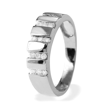 0.20CT DIAMOND AND 9K WHITE GOLD HALF ETERNITY RING - RTC-E4324