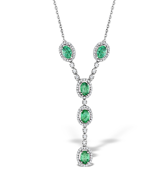 EMERALD 0.45CT AND DIAMOND 9K WHITE GOLD NECKLACE