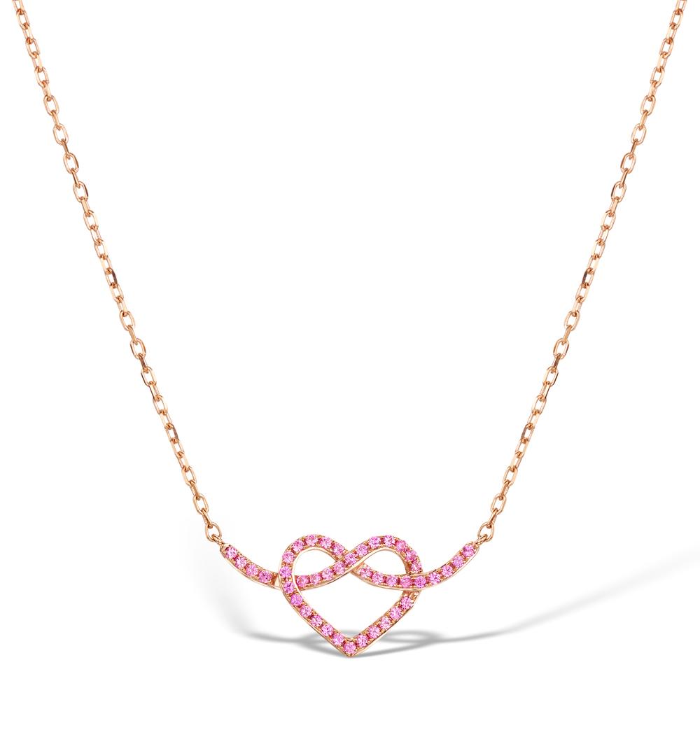 VIVARA COLLECTION PINK SAPPHIRE 9K ROSE GOLD HEART NECKLACE D3408