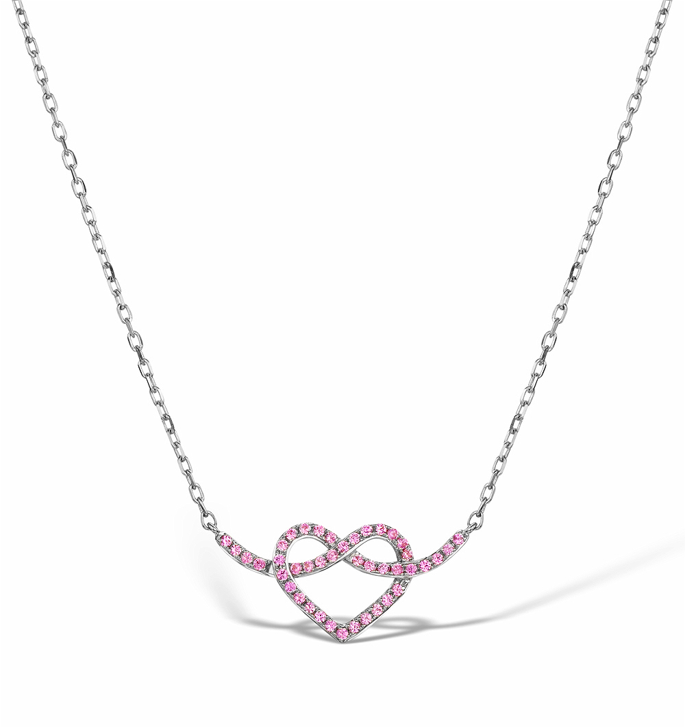 VIVARA COLLECTION PINK SAPPHIRE 9K WHITE GOLD HEART NECKLACE D3408Y