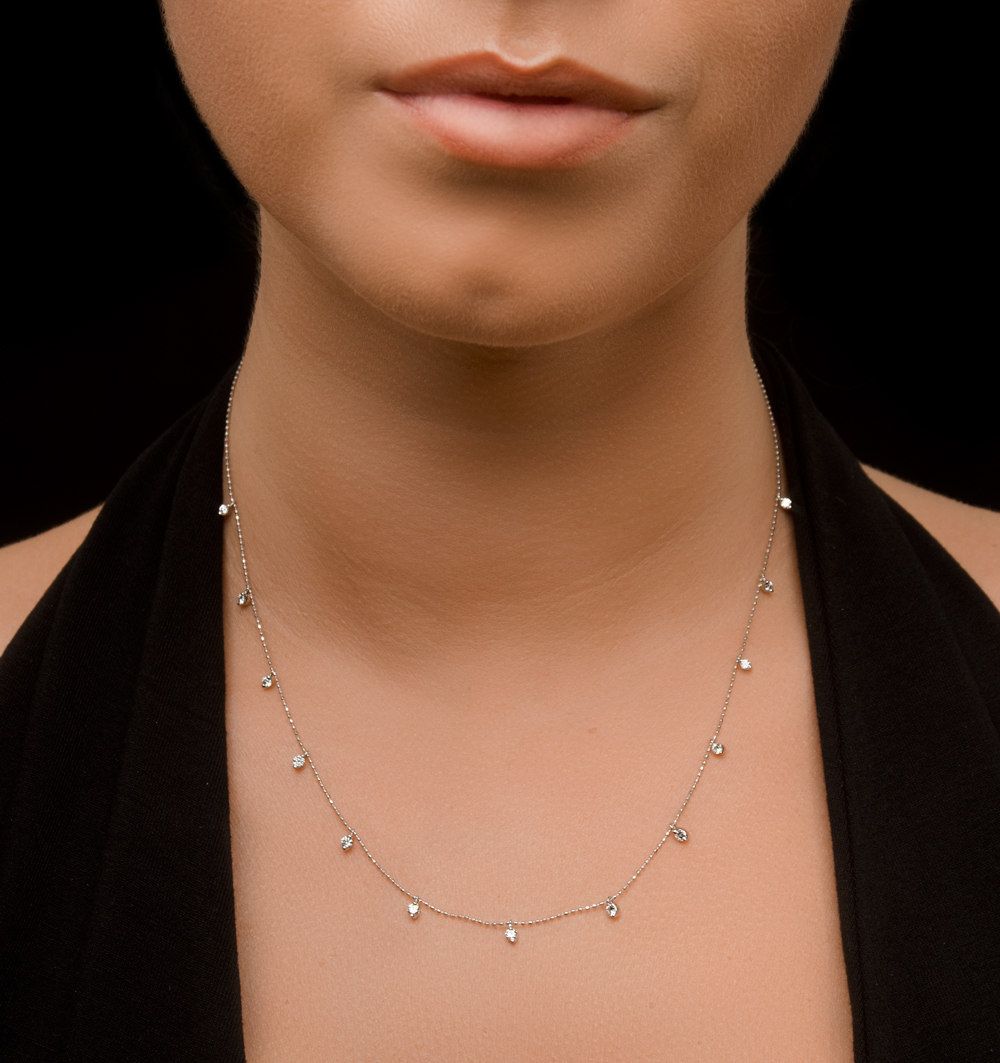 VIVARA COLLECTION 0.50CT DIAMOND AND 18K WHITE GOLD NECKLACE D3409