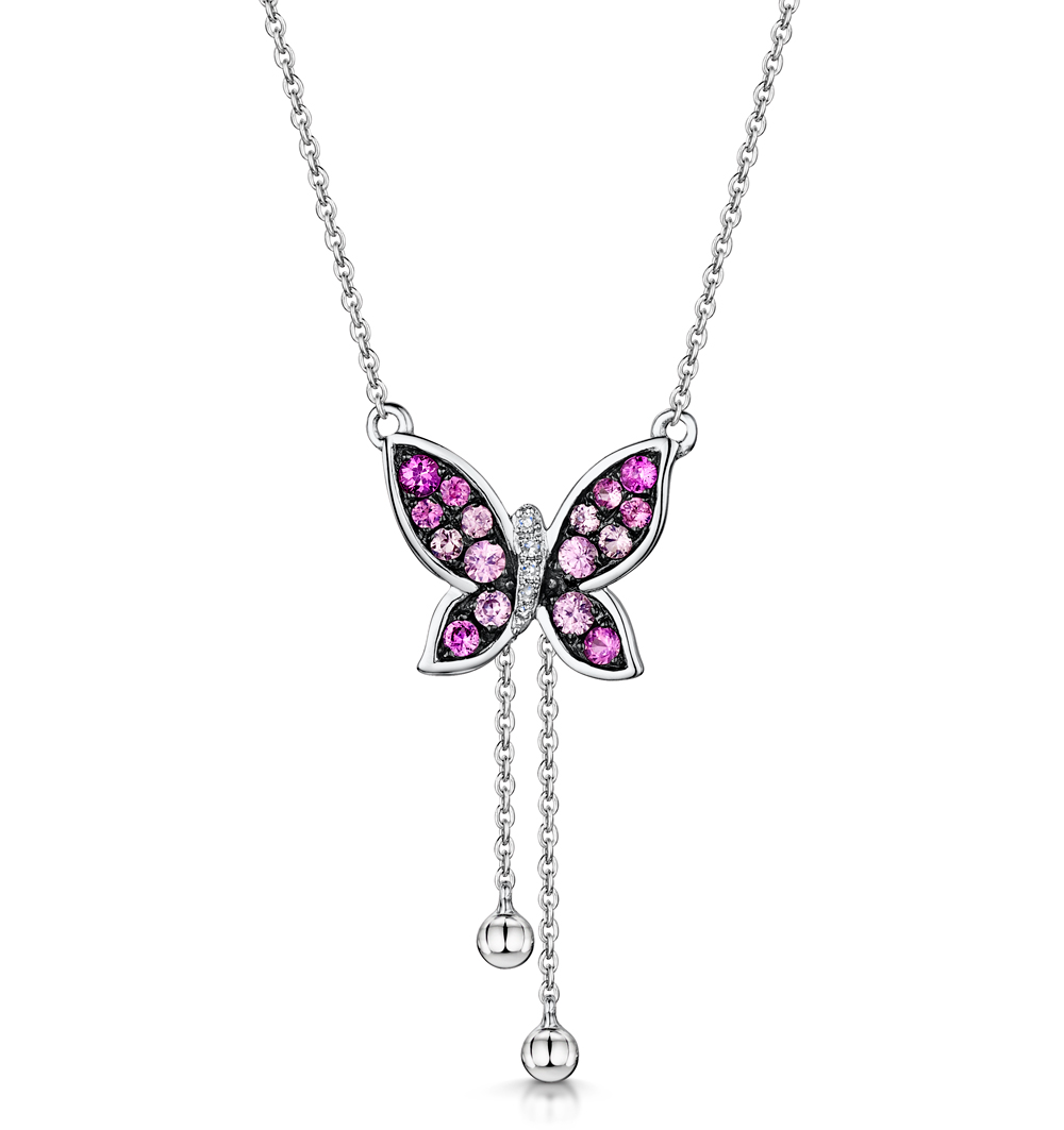 PINK SAPPHIRE DIAMOND STELLATO BUTTERFLY NECKLACE IN 9K WHITE GOLD