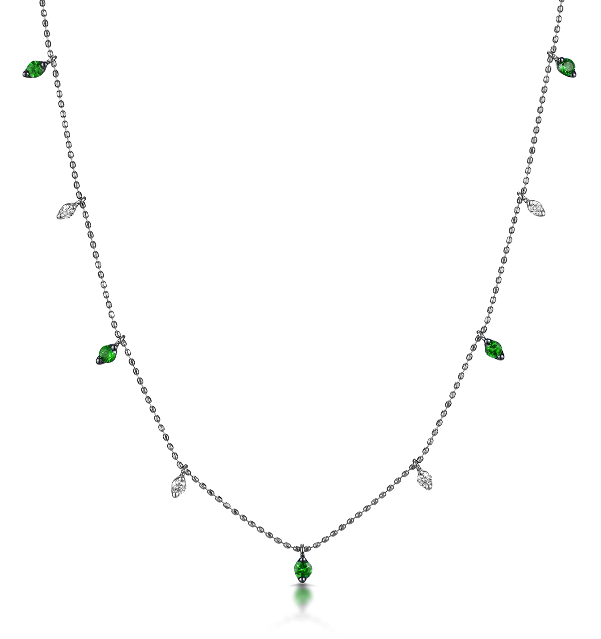 EMERALD AND DIAMOND NECKLACE IN 18K WHITE GOLD - VIVARA COLLECTION