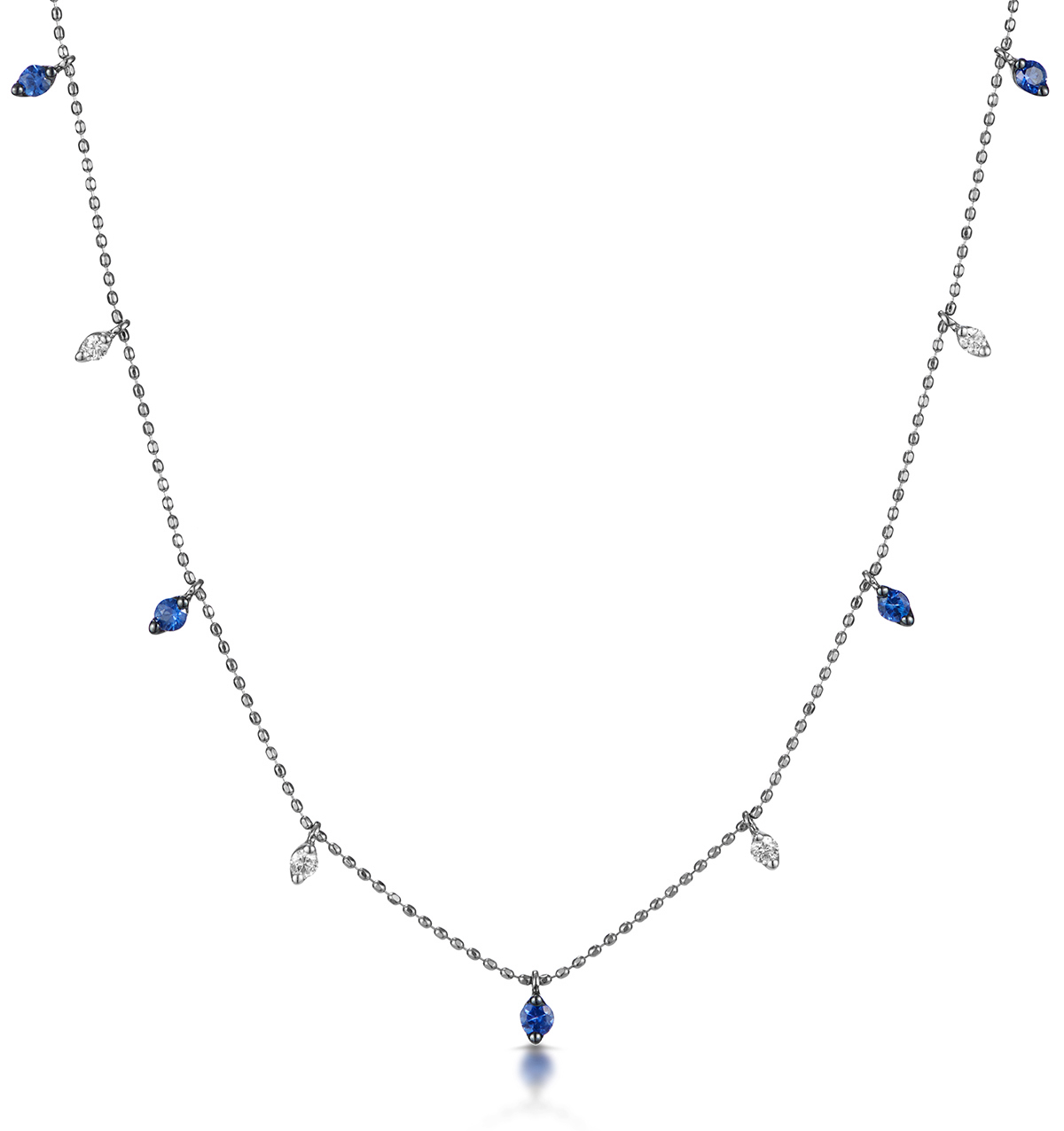 Sapphire and Diamond Necklace in 18K White Gold - Vivara Collection