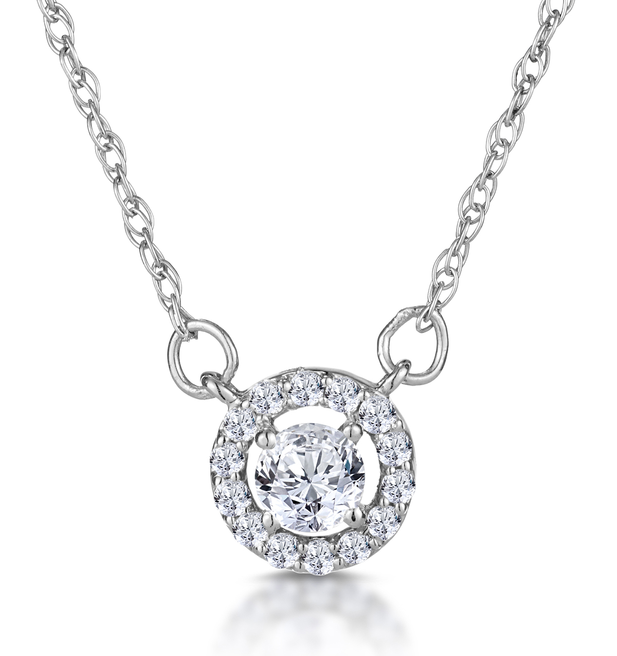 DIAMOND HALO NECKLACE IN 9K WHITE GOLD - ASTERIA COLLECTION