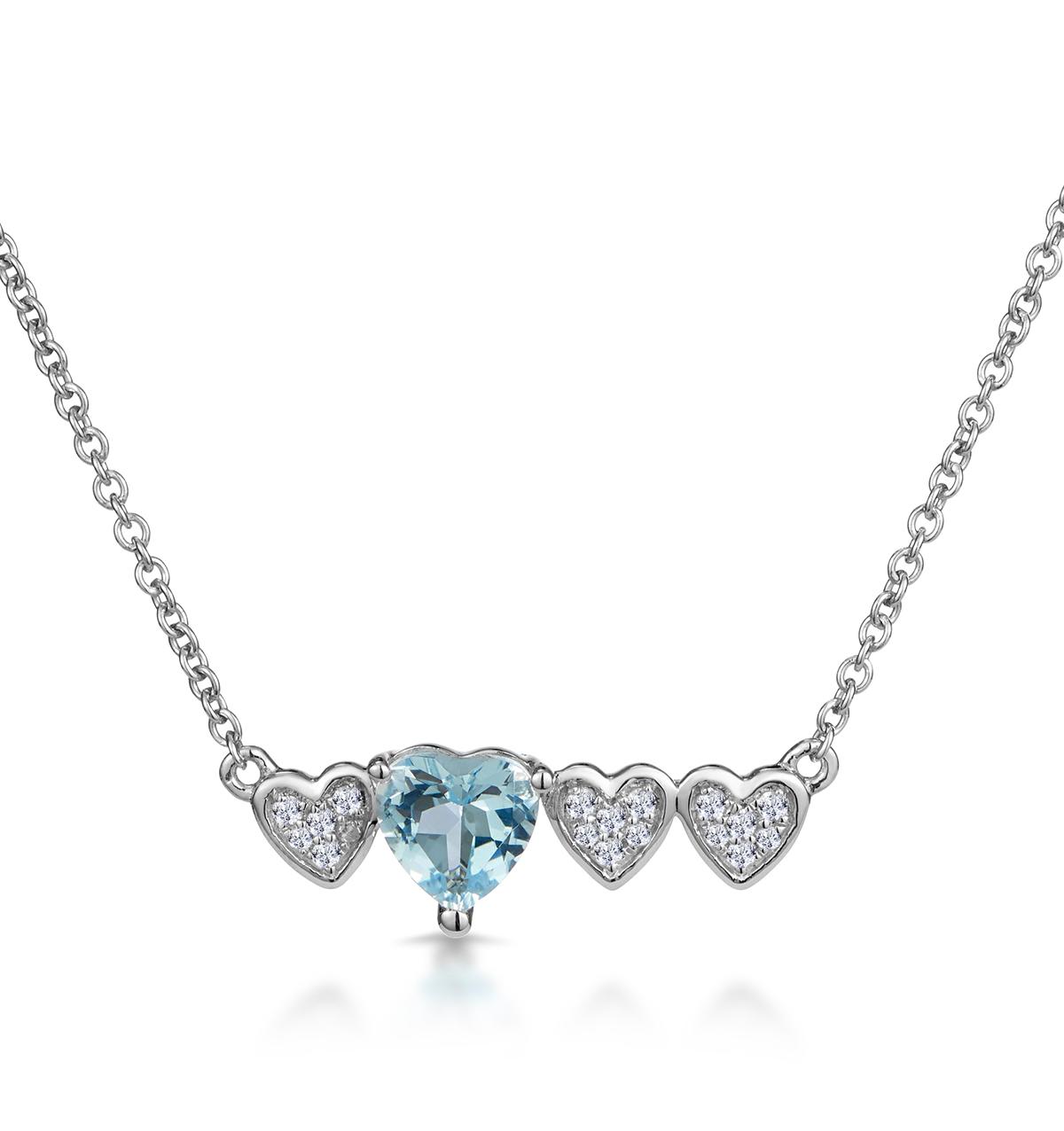 AQUAMARINE AND DIAMOND STELLATO HEART NECKLACE IN 9K WHITE GOLD