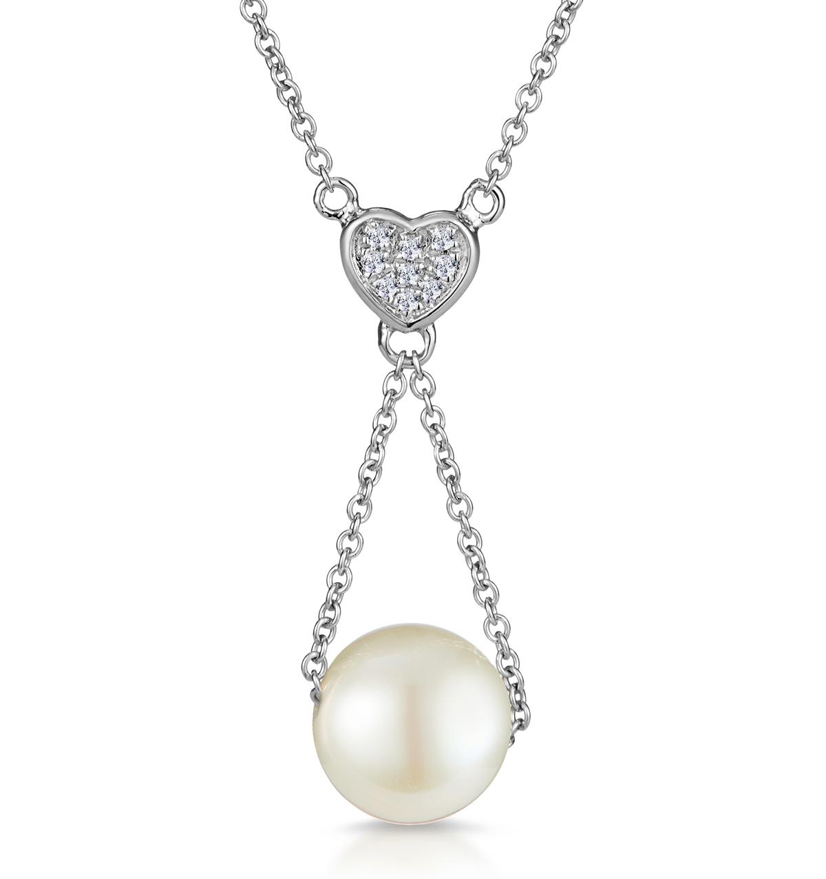 PEARL AND DIAMOND HEART STELLATO NECKLACE IN 9K WHITE GOLD