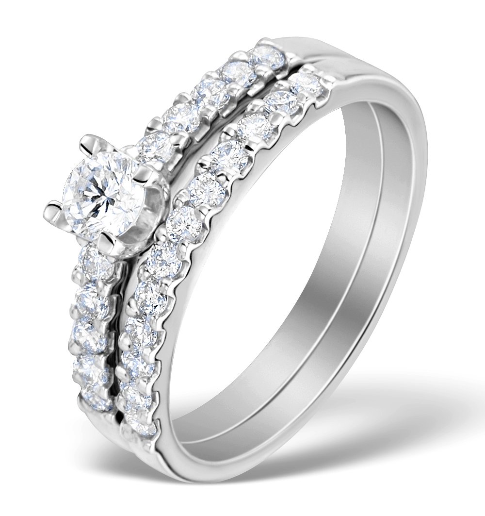 MATCHING DIAMOND ENGAGEMENT AND WEDDING RING 0.71CT 18K GOLD - DN3225