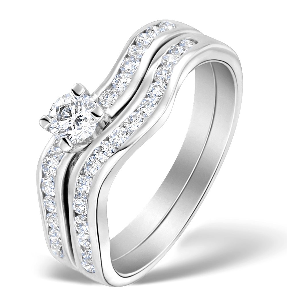 MATCHING DIAMOND ENGAGEMENT AND WEDDING RING 0.71CT 18K GOLD - DN3226