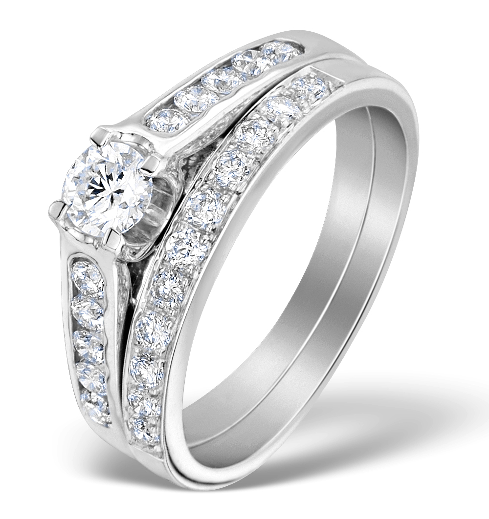 MATCHING DIAMOND ENGAGEMENT AND WEDDING RING 0.71CT 18K GOLD - DN3227