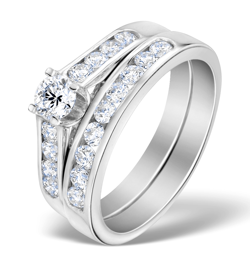 MATCHING DIAMOND ENGAGEMENT AND WEDDING RING 0.88CT 18K GOLD - DN3228