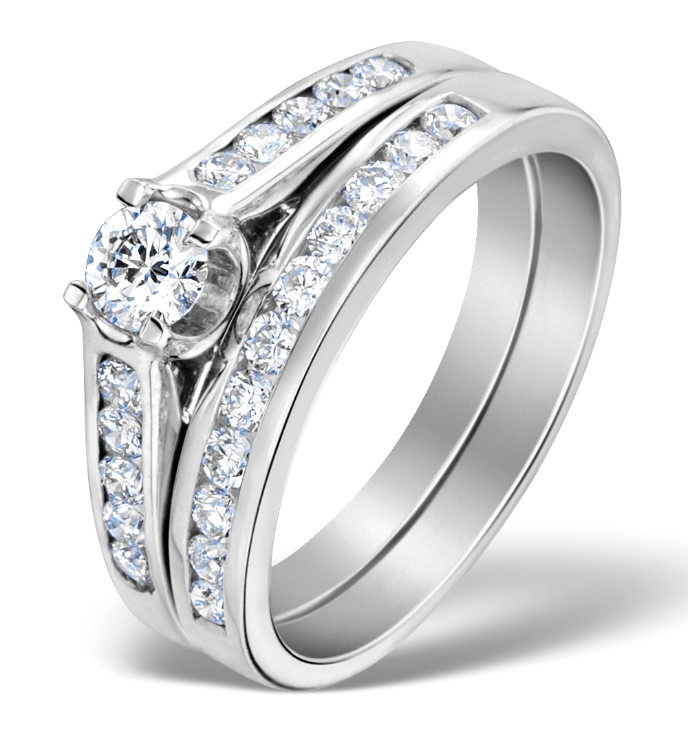 MATCHING DIAMOND ENGAGEMENT AND WEDDING RING 0.86CT 18K GOLD - DN3229