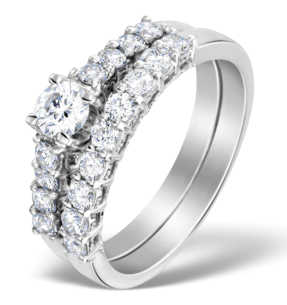 Matching Diamond Engagement and Wedding Ring 0.96ct 18K Gold - DN3220