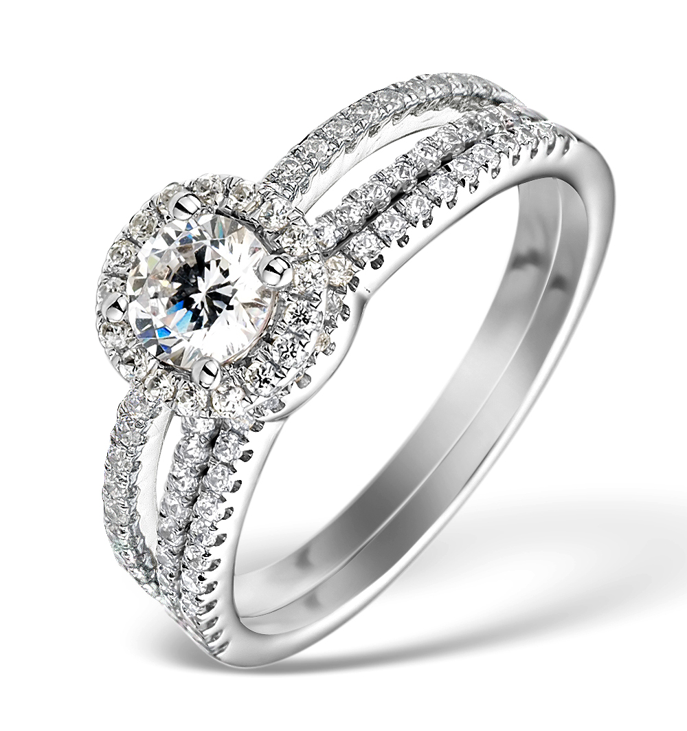 MATCHING DIAMOND ENGAGEMENT AND WEDDING RING 1CT SI2 18K GOLD - DN3221