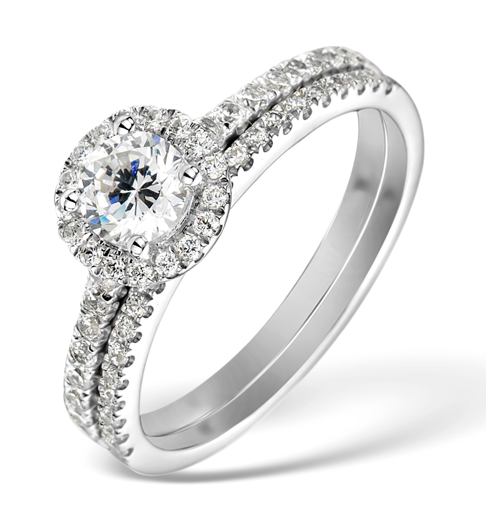Matching Diamond Engagement and Wedding Ring 1ct SI2 18K Gold - DN3232