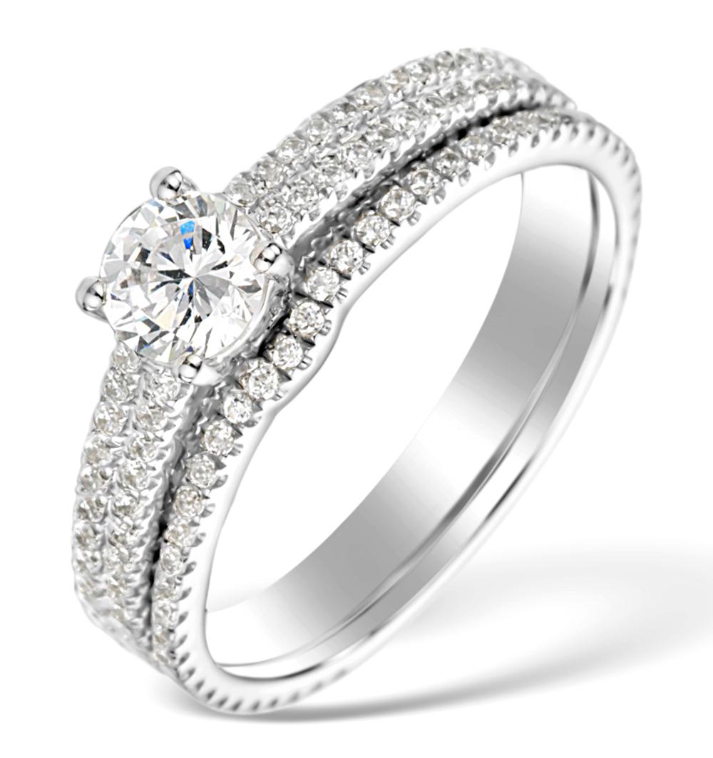 MATCHING DIAMOND ENGAGEMENT - WEDDING RING 1.25CT SI2 18K GOLD DN3234
