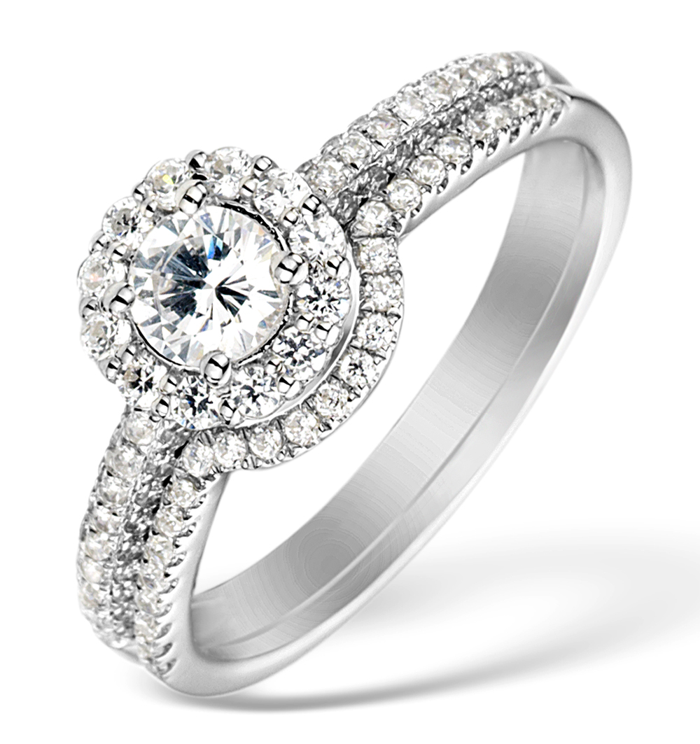 Matching Diamond Engagement and Wedding Ring 1ct SI1 18K Gold - DN3235