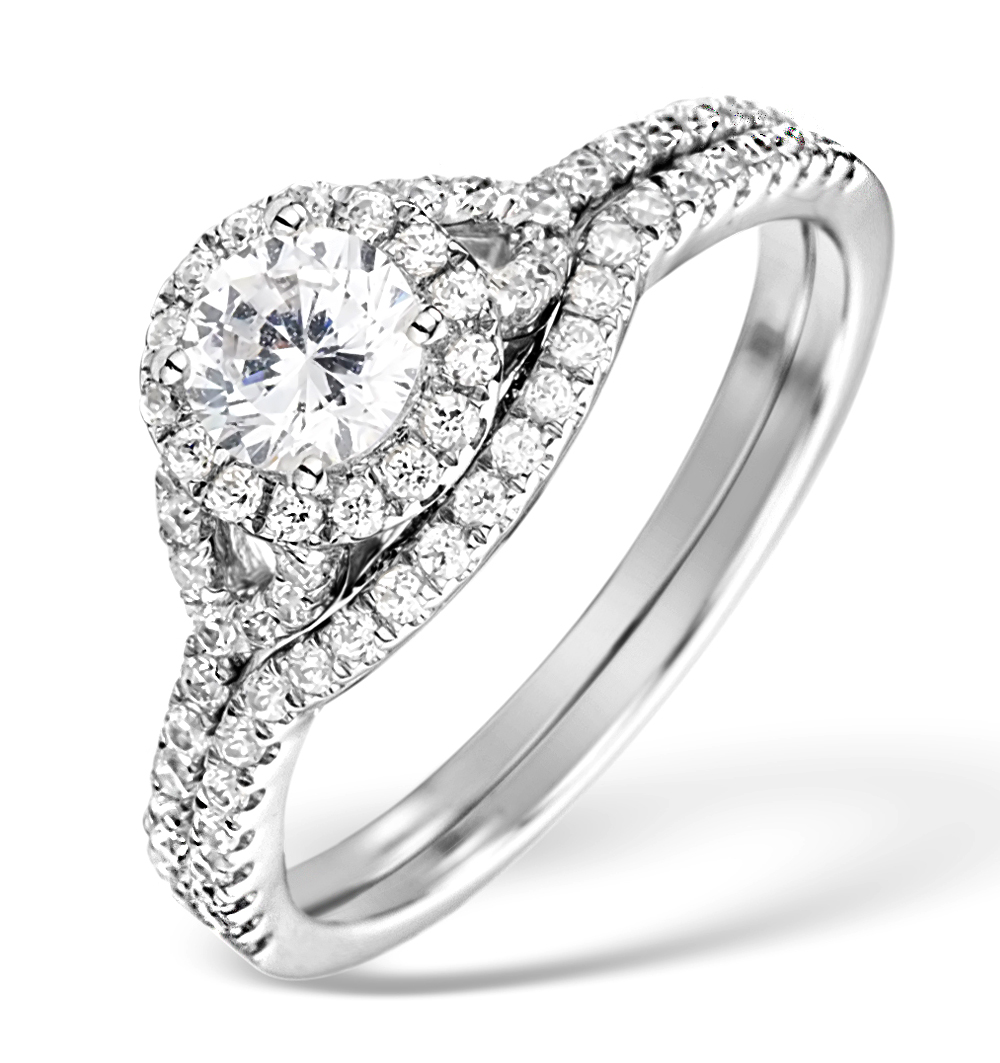 MATCHING DIAMOND ENGAGEMENT AND WEDDING RING 1CT SI2 18K GOLD - DN3236