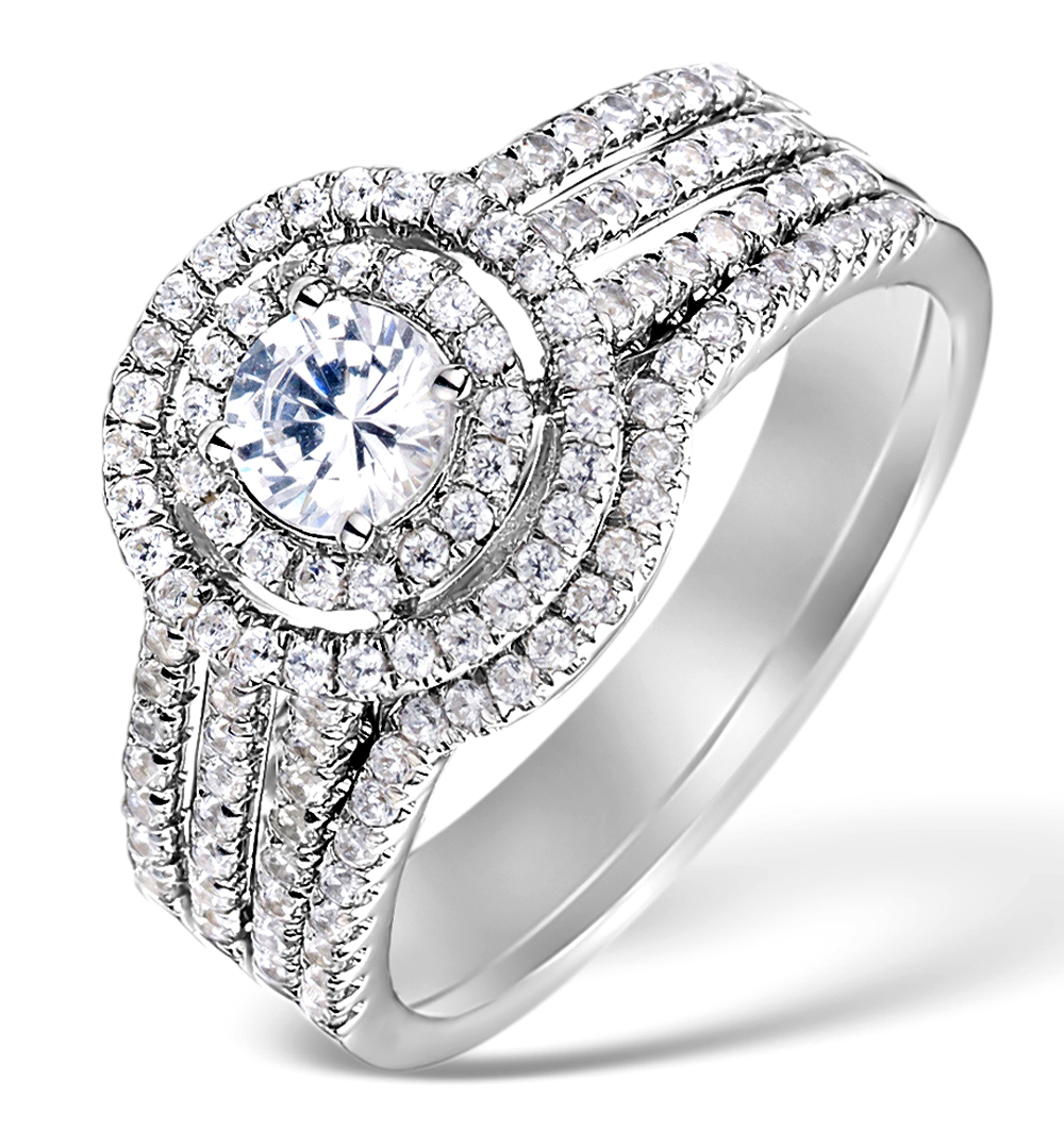 MATCHING DIAMOND ENGAGEMENT AND WEDDING RING 1CT SI2 18K GOLD - DN3237