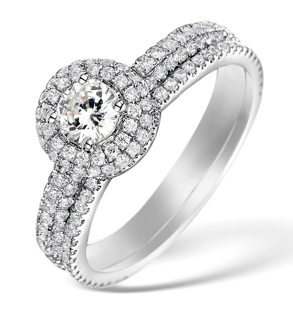 MATCHING DIAMOND ENGAGEMENT - WEDDING RING 1.50CT SI2 18K GOLD -DN3238