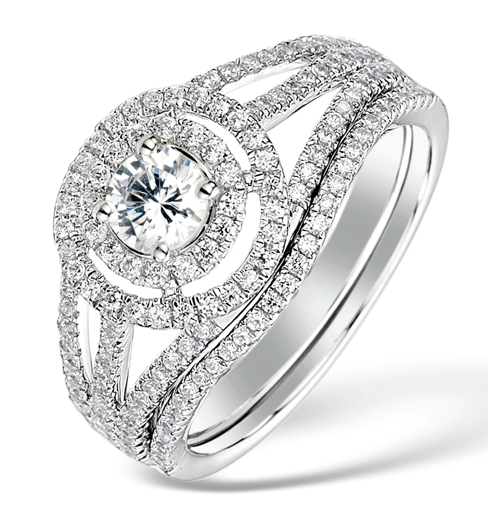 MATCHING DIAMOND ENGAGEMENT AND WEDDING RING 1CT SI2 18K GOLD - DN3239