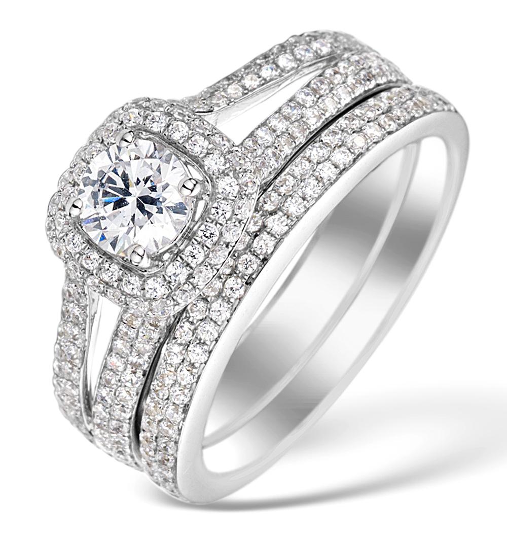 MATCHING DIAMOND ENGAGEMENT - WEDDING RING 1.50CT SI2 18K GOLD -DN3230