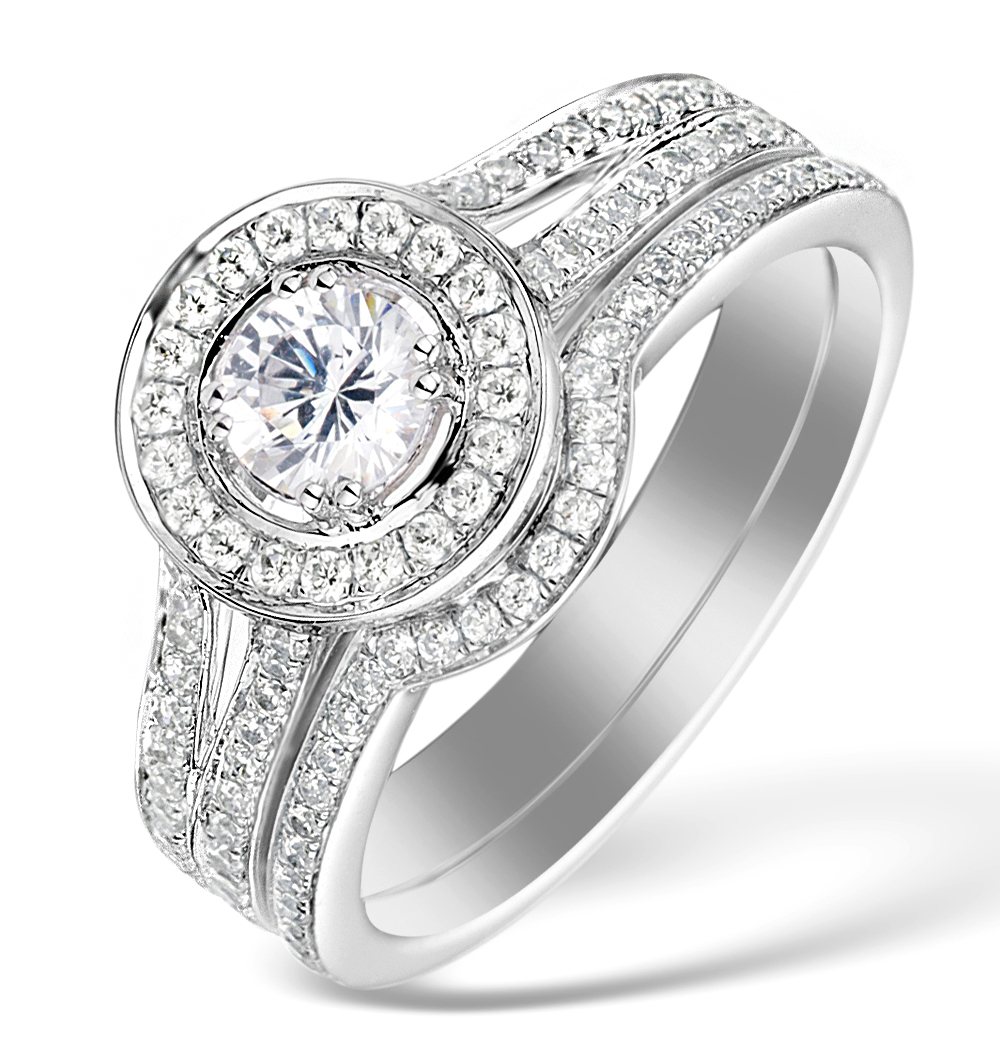 MATCHING DIAMOND ENGAGEMENT AND WEDDING RING 1CT SI2 18K GOLD - DN3231