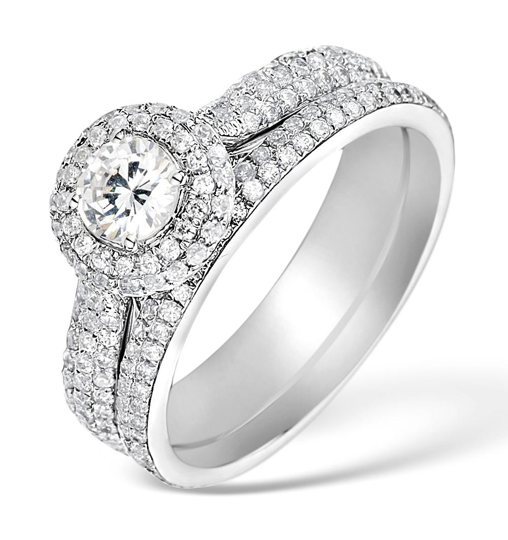 MATCHING DIAMOND ENGAGEMENT - WEDDING RING 1.50CT SI2 18K GOLD -DN3243